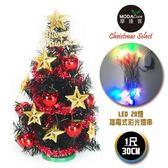 台灣製迷你1呎/1尺(30cm)裝飾黑色聖誕樹-含飾品 +LED20燈彩光插電式(多款可選) ◆86小舖 ◆