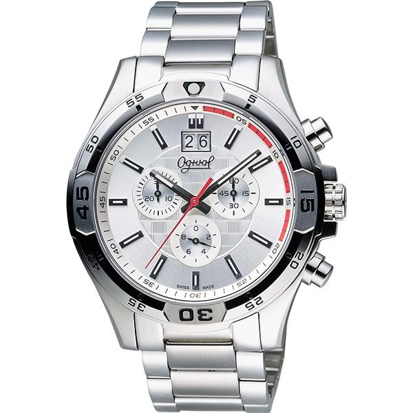 Ogival 愛其華 都會大日期視窗計時腕錶-銀/45mm 832-07GS