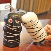 吸管杯新款搞怪木乃伊玻璃杯雙層兒童水杯創意禮品杯時尚便攜潮杯子