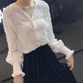 雪紡襯衫女韓版春裝新款設計感小眾襯衣很仙的心機上衣 - 歐美韓