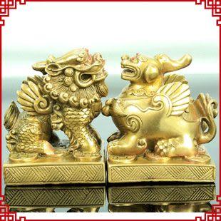 【銅製雌雄貔貅擺件】-招財旺財,家庭或者店鋪招財最佳吉祥物