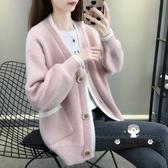 毛衣外套 女裝秋季2019新款正韓寬鬆網紅慵懶風燈籠袖針織開衫外搭