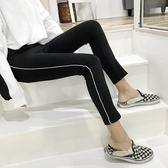 早春新款女裝側條紋彈力緊身高腰修身顯瘦學生百搭鉛筆小腳打底褲