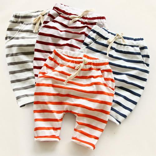 短褲 男女童經典純棉細橫條紋綁繩寬鬆五分褲 S55015