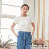 【Tiara Tiara】百貨同步 漂浮氣泡六角恐龍短袖棉T(白/藍)
