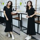 【GZ L2】長洋裝 韓版寬鬆百搭V領素...