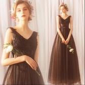 M-天使嫁衣 高雅顯瘦 時髦黑色晚宴年會演出生日派對婚紗禮服1208