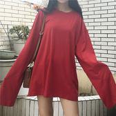 大尺碼T恤簡約純色大尺碼復古港味長袖T恤女正韓寬鬆學生套頭衛衣上衣打底衫