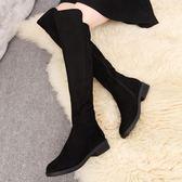 長靴 過膝靴長靴女靴子冬季長筒靴高筒平底側拉鏈布靴粗跟女鞋