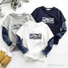 男童純棉T恤2020春季新款兒童假兩件長袖衛衣打底衫春裝洋氣上衣 探索先鋒