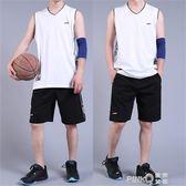 純棉無袖套裝男士夏季健身房跑步運動服背心短褲加肥大碼休閒薄款  【PINKQ】