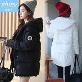 【V371-1】 shiny藍格子-瑕疵特賣.時尚連帽寬鬆加厚羽絨棉中長款棉襖外套