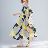 長裙 洋裝 中大尺碼 女裝2019夏新款文藝mm200斤寬鬆遮肚減齡顯瘦妹妹連衣裙 新年特惠