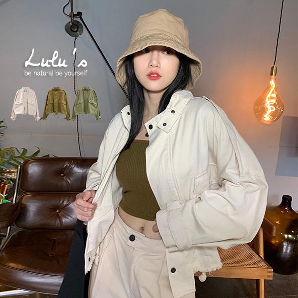 LULUS-E手袖壓釦抽鬚口袋拉鍊外套-3色  【03190096】