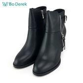 【Bo Derek 】個性單釦環高跟短靴 -黑