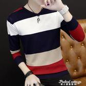 新款秋裝針織薄款韓版修身V領t恤男士條紋拼色套頭圓領毛衣長袖男·蒂小屋