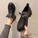 牛津鞋 黑色小皮鞋女英倫風2020秋冬新款百搭中跟粗跟工作單鞋加絨休閒鞋 618購物節