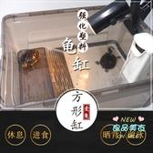 烏龜缸 小養龜髮帶曬台魚缸水陸缸水龜草龜巴西龜活體飼養塑膠盒箱T