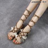 羅馬流蘇綁帶平底涼鞋珍珠繫帶鞋涼靴