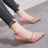小清新高跟鞋貓跟單鞋韓版百搭細跟淺口士工作鞋
