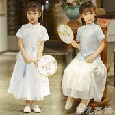 兒童古裝   女童漢服夏中國風復古半身裙兒童改良短袖民族風古裝中式寶寶唐裝 綠光森林