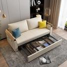 沙發床可摺疊多功能小戶型客廳布藝單雙人實木伸縮推拉兩用網紅床 夢幻小鎮
