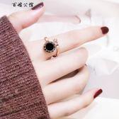 韓版簡約開口圓牌戒指玫瑰金指環