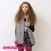 【SHOWCASE】毛條織紋優雅兔毛混紡針織背心(灰)