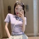 polo衫 2020春夏新款修身顯瘦短款上衣polo領洋氣百搭針織短袖t恤女ins潮