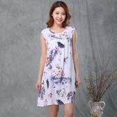 夏季中老年人睡衣女士綿綢媽媽睡裙夏天中年薄款大碼人造棉連衣裙 AD1217『毛菇小象』