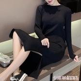 秋冬新款潮女裝高腰針織長袖連身裙黑色打底長裙內搭過膝毛衣裙子 極速出貨
