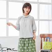 【Tiara Tiara】百貨同步新品aw 小立領領口打摺7分袖襯衫(灰)