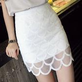 歐根紗裙-夏季高腰蕾絲顯瘦包臀短紗裙2色69l12[巴黎精品]