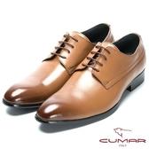 CUMAR 嚴選真皮 輕量紳士皮鞋-棕色