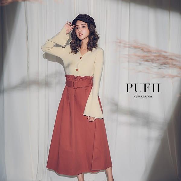 (現貨-黑)PUFII-針織上衣 兩穿V領排釦喇叭袖針織上衣薄外套 4色-0920 現+預 秋【CP15178】