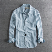 長袖襯衫 自留款 懷舊復古水洗梭織條紋休閑襯衣帥氣男士潮款長袖襯衫
