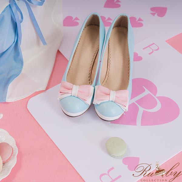 鞋子 糖果色系蝴蝶結高跟鞋-藍-Ruby s露比午茶