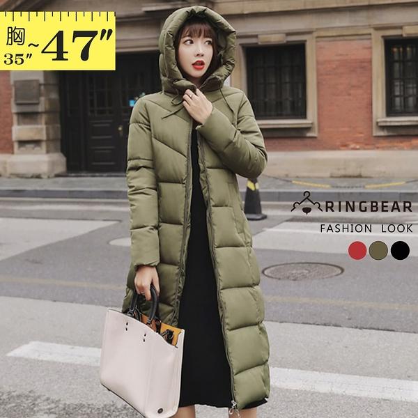 鋪棉外套--保暖立領連帽拉鍊口袋顯瘦修身長版鋪棉外套(黑.紅.綠L-3L)-J261眼圈熊中大尺碼◎