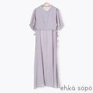 「Summer」分層感設計綁帶開襟短袖洋裝 (提醒 SM2僅單一尺寸) - Sm2