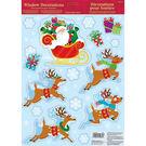 聖誕 裝飾 佈置 玻璃靜電貼紙-雪橇麋鹿...