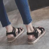 涼鞋女夏平底新款韓時尚學生百搭綁帶女鞋