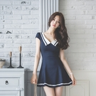 短袖洋裝 2021夏季新款女裝修身顯瘦低胸性感海軍風制服學院風a字連身裙潮