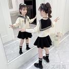 童裝女童套裝2020新款秋裝女孩洋氣秋冬加絨中大童兒童網紅兩件套 小艾新品