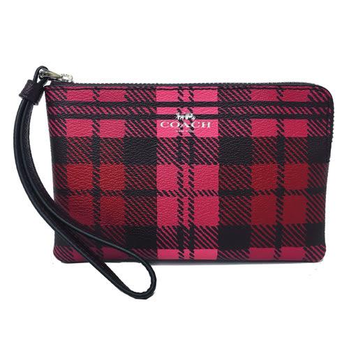 【COACH】經典壓印LOGO格紋PVC皮革手拿包零錢包(粉紅格)