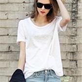 (超夯免運)美與樂趣夏上新竹節棉圓領短袖T恤女士英倫白色寬鬆大尺碼休閒百搭