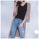 Catworld 開襟坑條喇叭袖長版針織外套【15003495】‧F