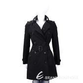 BURBERRY GABARDINE 黑色中長版棉質風衣(附腰帶) 1510122-01