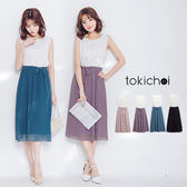 東京著衣-直條紋拼素色無袖連身長裙-S.M(5008093)