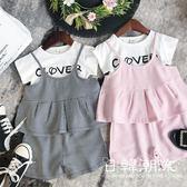 童裝/套裝  2019夏女童英倫風格子吊帶三件套裝 兒童寶寶背心上衣 短褲4264