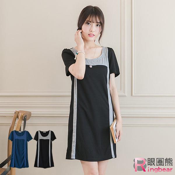 拼接--修身款撞色造型個性合身短袖洋裝/長上衣(黑.藍XL-5L)-D346眼圈熊中大尺碼★
